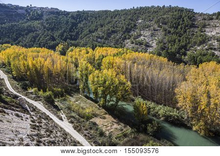 Panoramic view of the valley of the river Jucar during autumn take in Alcala of the Jucar Albacete province Spain