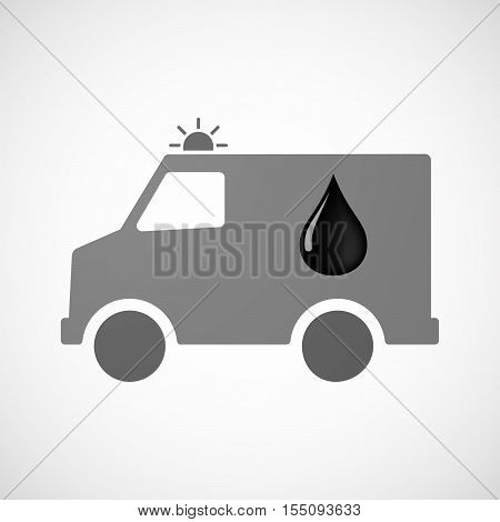 Isolated Ambulance Furgon Icon With  An Oil Drop Icon