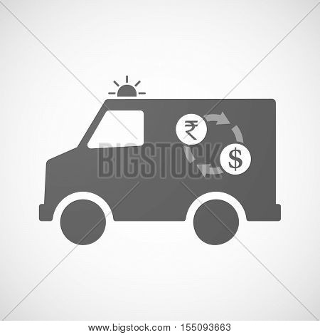 Isolated Ambulance Furgon Icon With  A Rupee And Dollar Exchange Sign