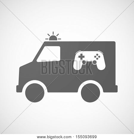 Isolated Ambulance Furgon Icon With  A Game Pad