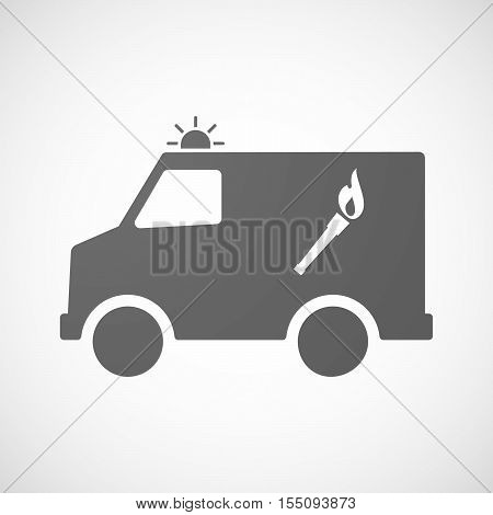 Isolated Ambulance Furgon Icon With  A Torch Icon