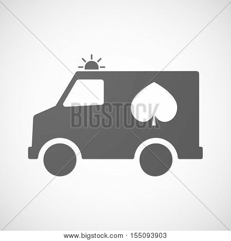 Isolated Ambulance Furgon Icon With  The  Spade  Poker Playing Card Sign