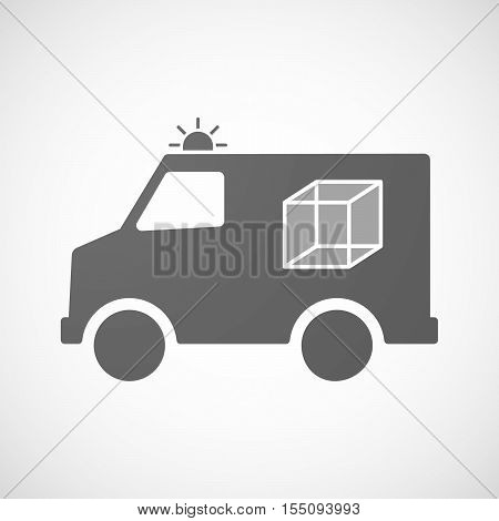 Isolated Ambulance Furgon Icon With  A Cube Sign