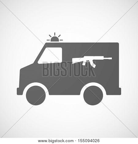Isolated Ambulance Furgon Icon With  A Machine Gun Sign