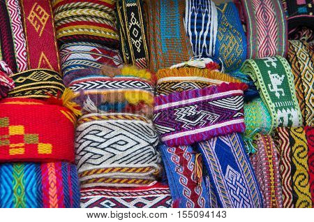 Crafts. Hand-woven textile strips. Image suitable for background.