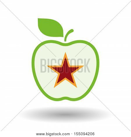 Isolated Healthy Apple Fruit With  The Red Star Of Communism Icon
