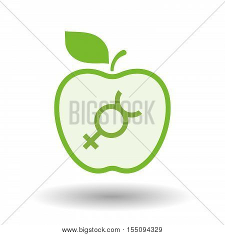 Isolated Healthy Apple Fruit With  The Mercury Planet Symbol