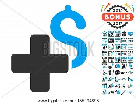 Add Dollar icon with bonus 2017 new year pictograph collection. Vector illustration style is flat iconic symbols, modern colors.