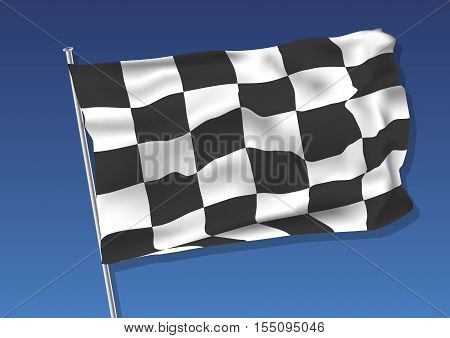 Chequered flag waving on the sky. vector illustration eps 10. gradient mesh