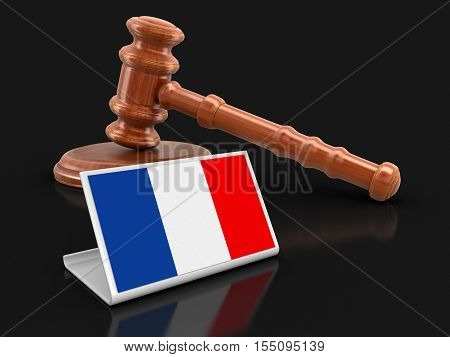 3D Illustration. 3d wooden mallet and French flag. Image with clipping path