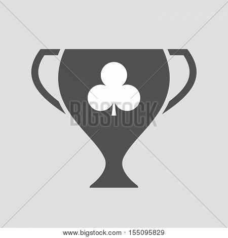 Isolated Award Cup Icon With  The  Club  Poker Playing Card Sign