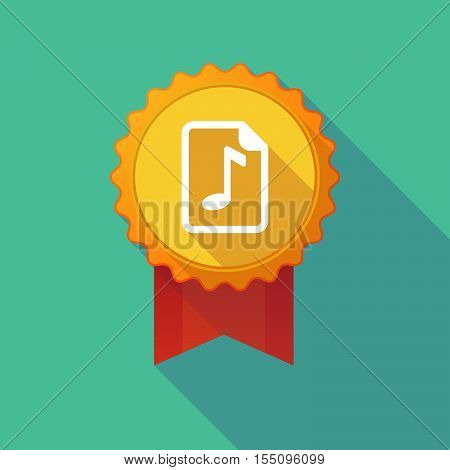 Long Shadow Badge With  A Music Score Icon