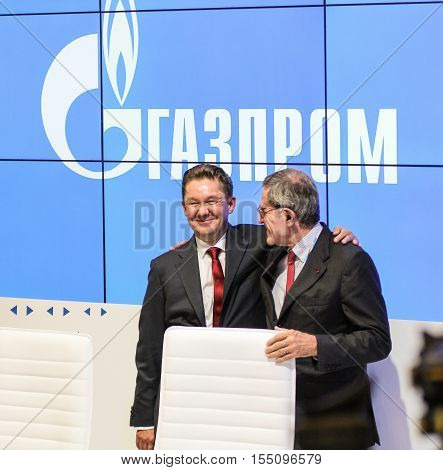 St. Petersburg, Russia - 4 October, Gazprom Chairman of the Board on the forum, 4 October, 2016. Petersburg Gas Forum which takes place in Expoforum.