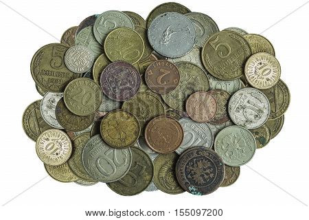 Much old metallic coins on white background