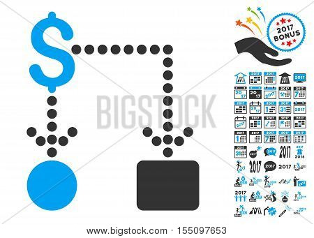 Cashflow pictograph with bonus 2017 new year design elements. Vector illustration style is flat iconic symbols, modern colors.