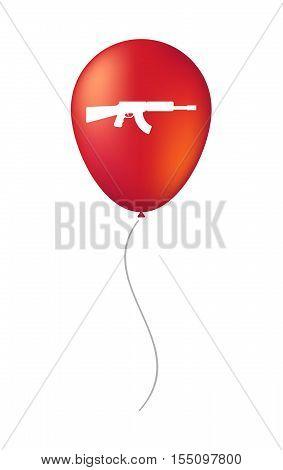 Isolated Air Balloon With  A Machine Gun Sign