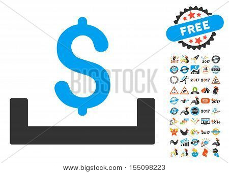 Deposit Placement pictograph with bonus 2017 new year clip art. Vector illustration style is flat iconic symbols, modern colors.