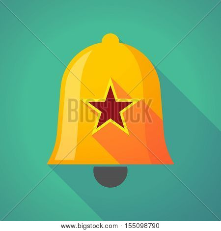Long Shadow Bell Icon With  The Red Star Of Communism Icon