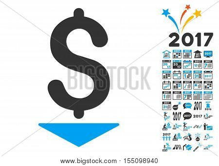 Dollar Down pictograph with bonus 2017 new year pictograph collection. Vector illustration style is flat iconic symbols, modern colors.
