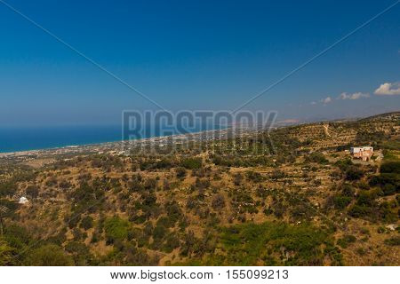 Agia Irini Greece. July 27. 2016: Panoramic view to Rethymno from Agia Irini Monastery. Set on the foot of the mount Vrysina on the northeast of the city of Rethymnon the Holy Monastery of Agia Irini is one of the oldest in Crete.