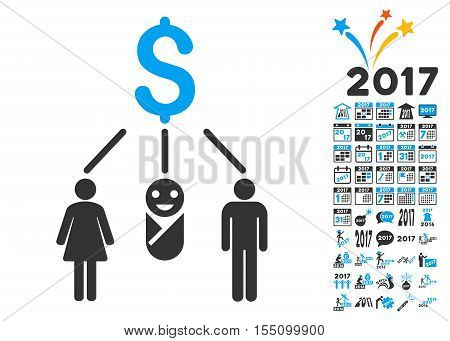 Family Budget pictograph with bonus 2017 new year symbols. Vector illustration style is flat iconic symbols, modern colors.