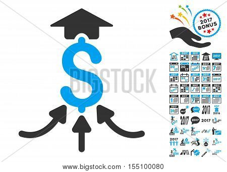 Financial Aggregator pictograph with bonus 2017 new year pictures. Vector illustration style is flat iconic symbols, modern colors.