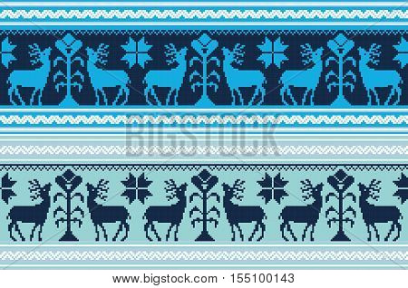 Set of vintage ethnic holiday ornament pattern in different colors. Vector illustration. From collection of Balto-Slavic ornaments