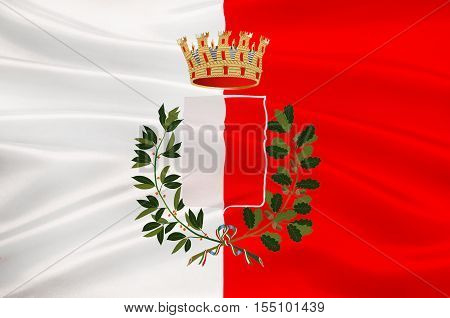 Flag of Bari is the capital city of the Metropolitan City of Bari and of the Apulia region Italy. 3d illustration