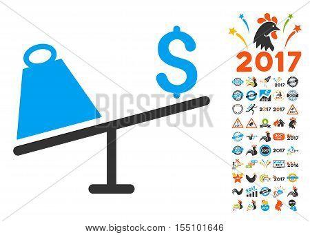 Market Price Swing icon with bonus 2017 new year symbols. Vector illustration style is flat iconic symbols, modern colors.