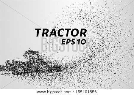 Tractor particles. The tractor breaks down into small circles and dots.
