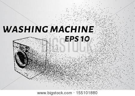 Washing machine made up of particles. Washing machine consists of small circles and dots.