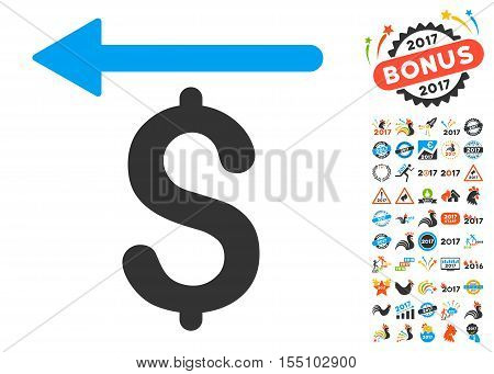 Moneyback pictograph with bonus 2017 new year graphic icons. Vector illustration style is flat iconic symbols, modern colors.