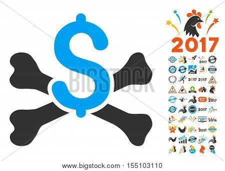 Mortal Debt icon with bonus 2017 new year images. Vector illustration style is flat iconic symbols, modern colors.