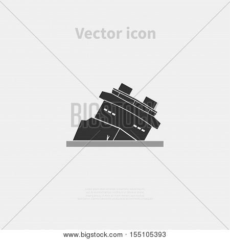 Sinking ship icon isolated on background. Vector illustration