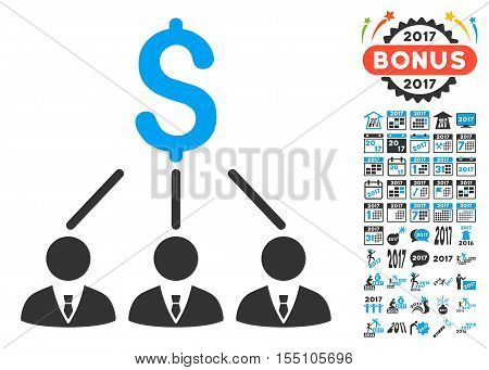 Shareholders pictograph with bonus 2017 new year symbols. Vector illustration style is flat iconic symbols, modern colors.