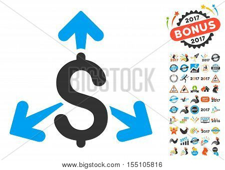 Spend Money icon with bonus 2017 new year icon set. Vector illustration style is flat iconic symbols, modern colors.