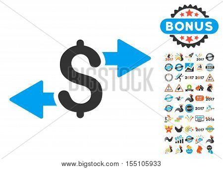 Spend Money icon with bonus 2017 new year pictures. Vector illustration style is flat iconic symbols, modern colors.
