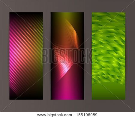 Vertical Banner Set Design Element Background Glow Abstract Shape18