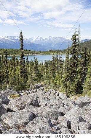 Looking down at Upper Dewey Lake situated over 3000 feet above sea level (Skagway Alaska)