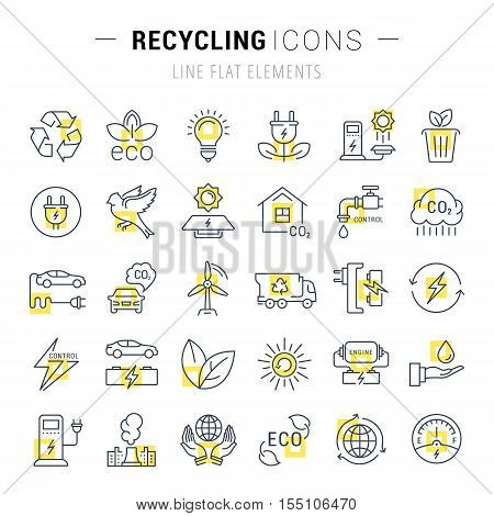 Set vector line icons in flat design recycling eco bio clean energy save water and world with elements for mobile concepts and web apps. Collection modern infographic logo and pictogram.