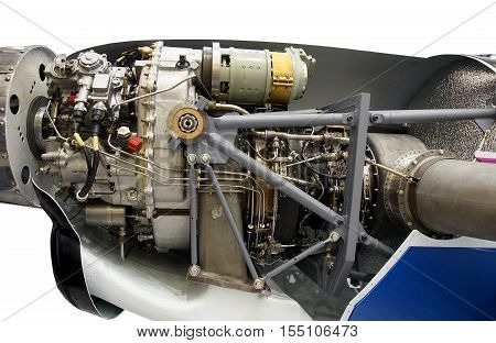 Photo shows Light aircraft engine with hydraulic system