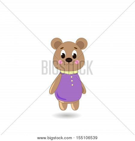 Сute cartoon Bear on a white background can be used for wallpaper design card invitation.