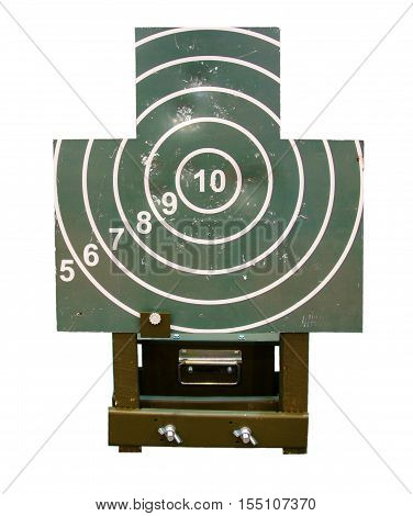 The mechanical target for shooting practice isolated on white background