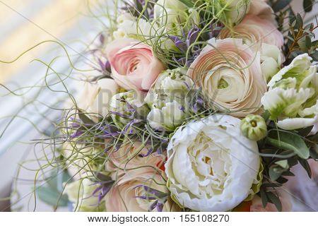 wedding bouquet close-up. Pink roses. Bouquet Flowers . Wedding background