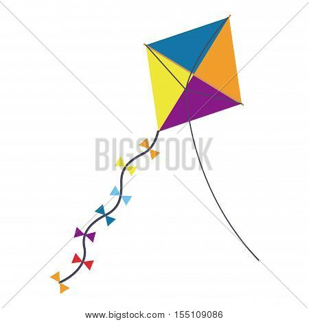 Kite icon. Toy game season wind and fun theme. Isolated design. Vector illustration