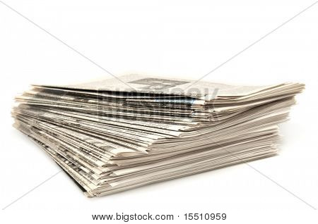 newspapers isolated on a white