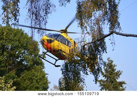 Berlin, Germany, September 1. 2016.; ADAC rescue helicopter at start