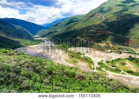 View of Chicamocha Canyon in Santander Colombia