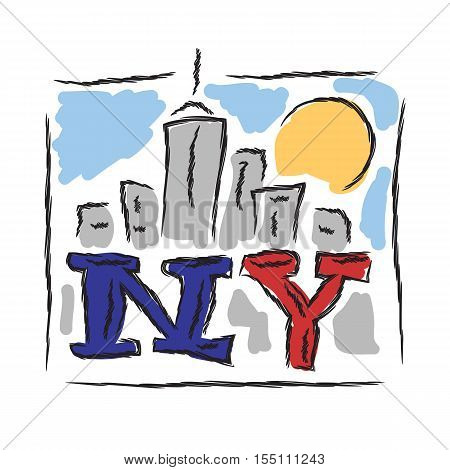 NY text creative hand drawn letters with cityscape symbol vector illustration