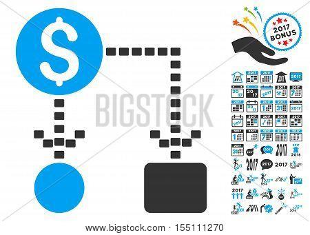 Cashflow Scheme pictograph with bonus 2017 new year design elements. Vector illustration style is flat iconic symbols, modern colors.
